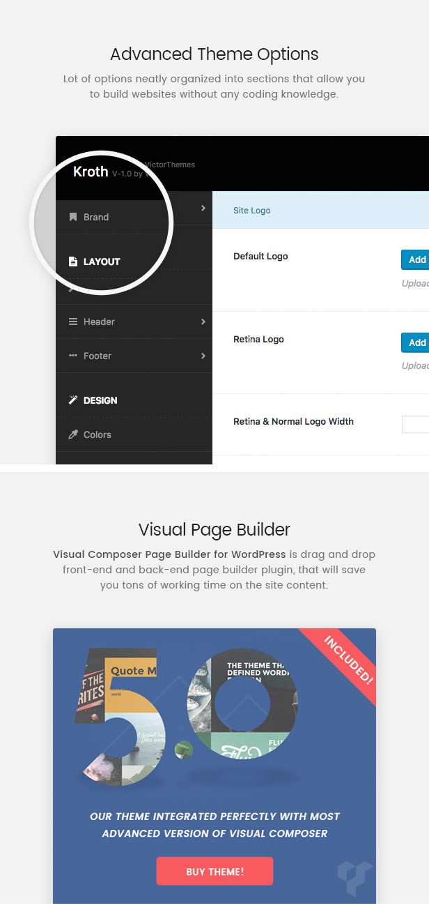 Kroth Theme Options & Page Builder