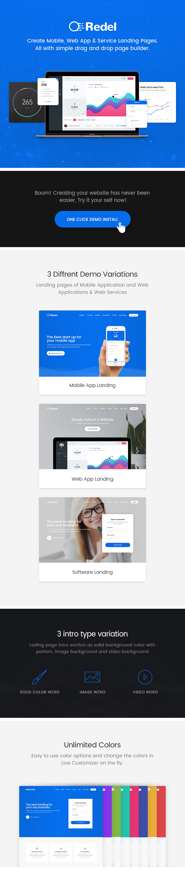 Redel Theme Features