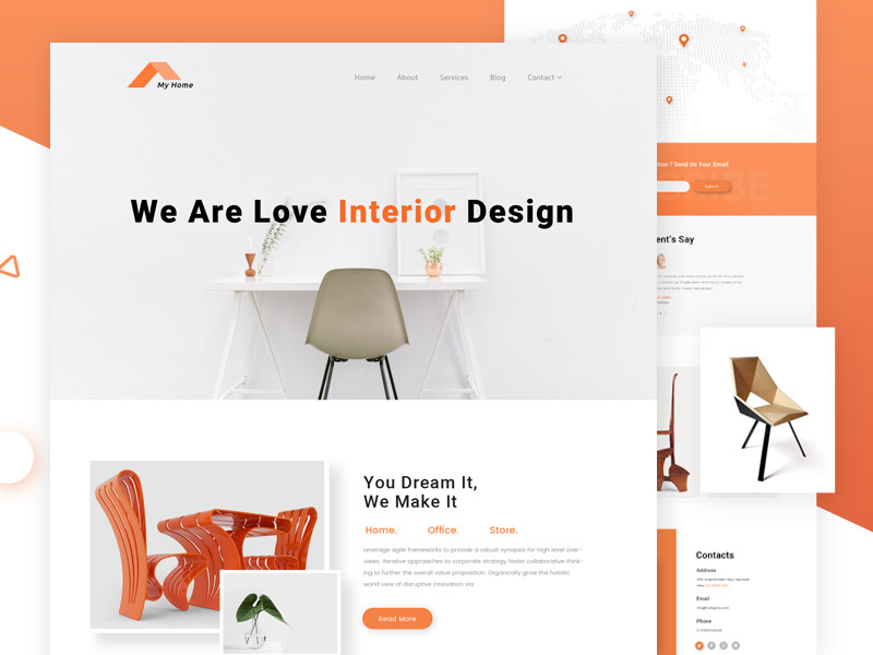 Home Interior Single Page Website Template
