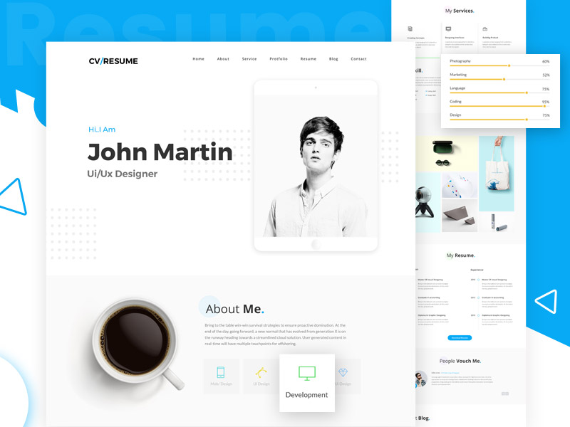 online resume website template victorthemes